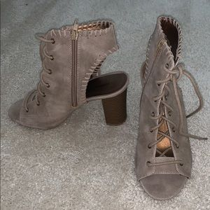 Tan lace up booties